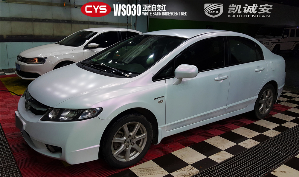 CIVIC WS030 White Satin Iridescent Red CYS Vehicle Film Official Website 2017 12 04